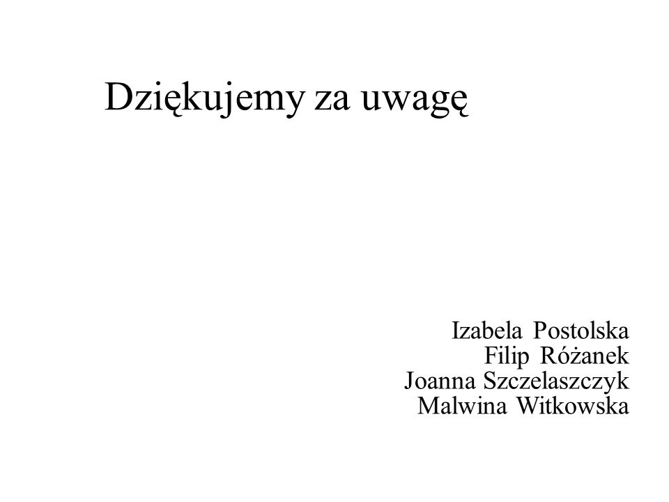 Dziękujemy za uwagę Izabela Postolska Filip Różanek Joanna Szczelaszczyk Malwina Witkowska