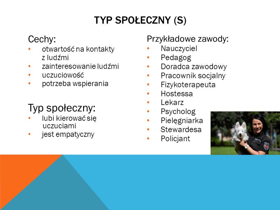 Typ społeczny: TYP SPOŁECZNY (S) Cechy: Przykładowe zawody: Nauczyciel