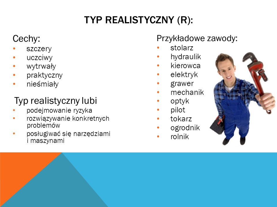 TYP REALISTYCZNY (R): Cechy: Przykładowe zawody: szczery stolarz