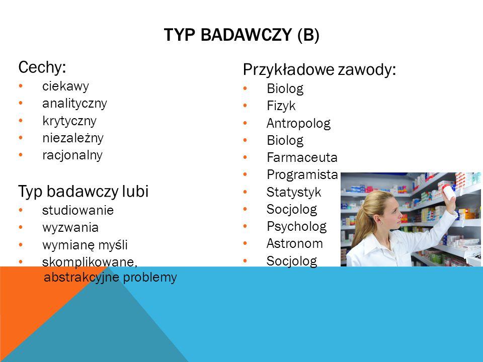 TYP BADAWCZY (B) Cechy: Przykładowe zawody: Typ badawczy lubi ciekawy