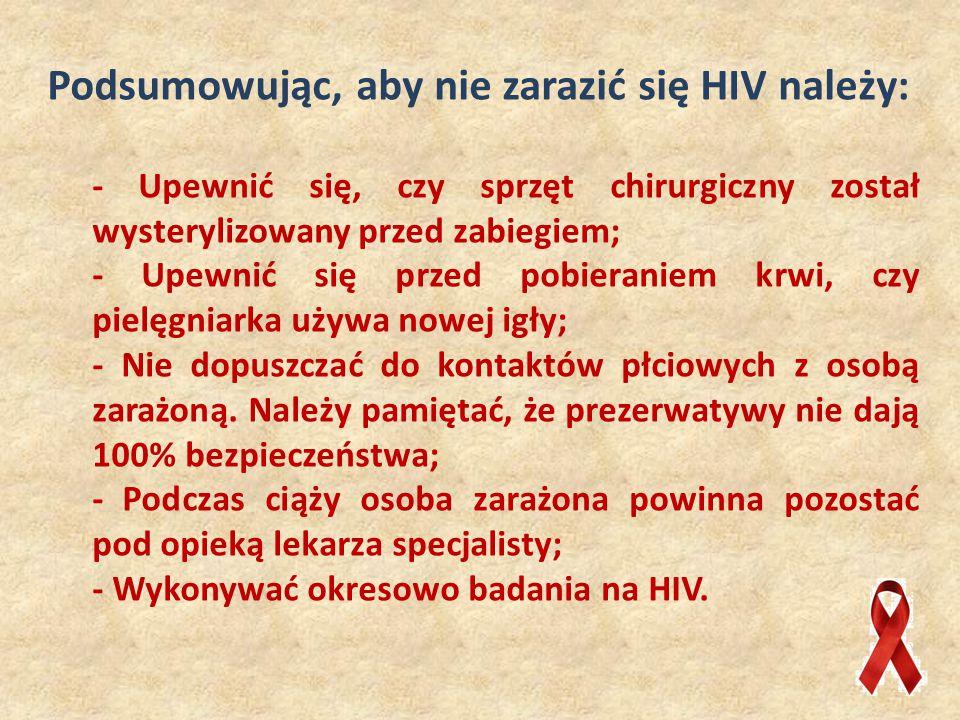Podsumowując, aby nie zarazić się HIV należy: