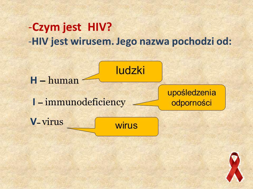 Czym jest HIV HIV jest wirusem. Jego nazwa pochodzi od: ludzki