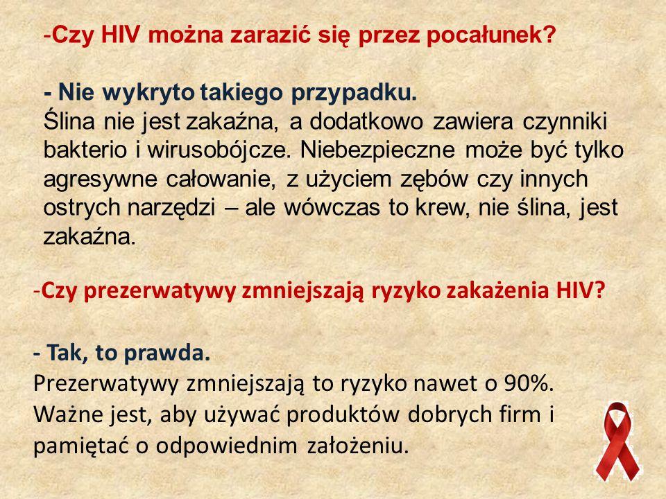 Czy prezerwatywy zmniejszają ryzyko zakażenia HIV - Tak, to prawda.