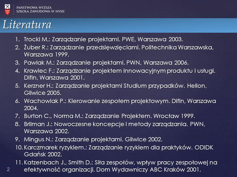 Literatura Trocki M.: Zarządzanie projektami. PWE, Warszawa 2003.