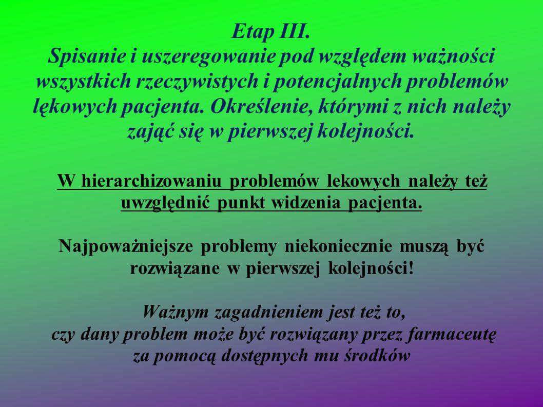Etap III. Spisanie i uszeregowanie pod względem ważności wszystkich rzeczywistych i potencjalnych problemów lękowych pacjenta. Określenie, którymi z nich należy zająć się w pierwszej kolejności.