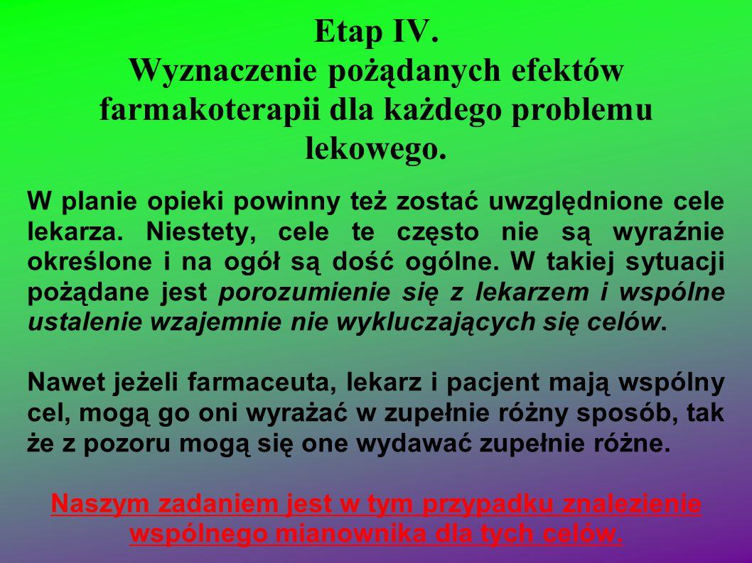 Etap IV. Wyznaczenie pożądanych efektów farmakoterapii dla każdego problemu lekowego.