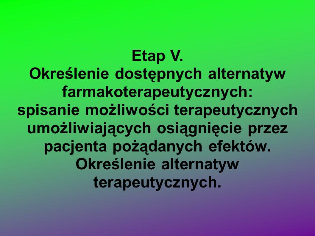 Określenie dostępnych alternatyw farmakoterapeutycznych: