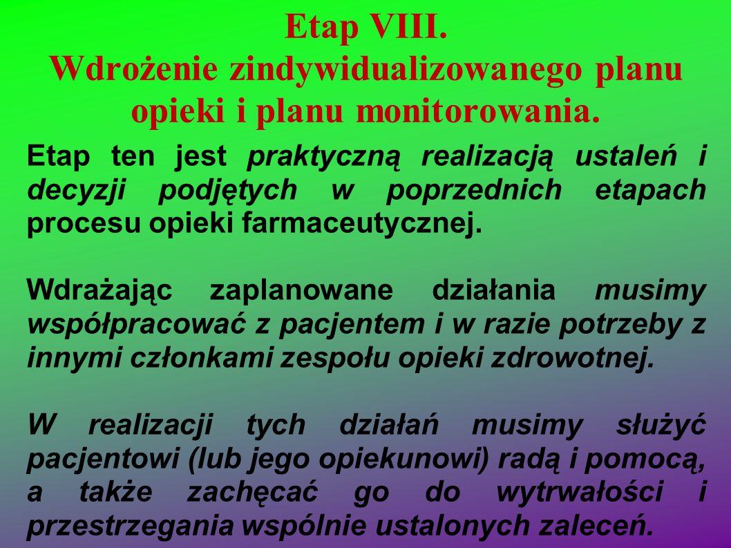 Etap VIII. Wdrożenie zindywidualizowanego planu opieki i planu monitorowania.