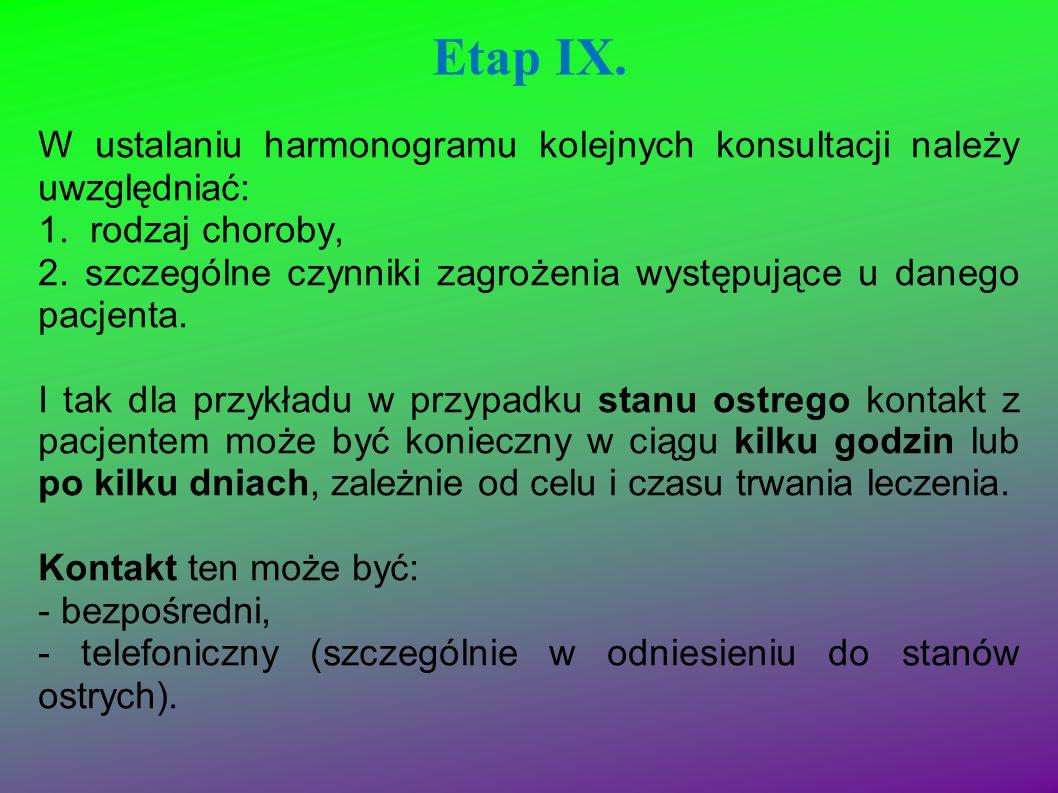 Etap IX. W ustalaniu harmonogramu kolejnych konsultacji należy uwzględniać: 1. rodzaj choroby,
