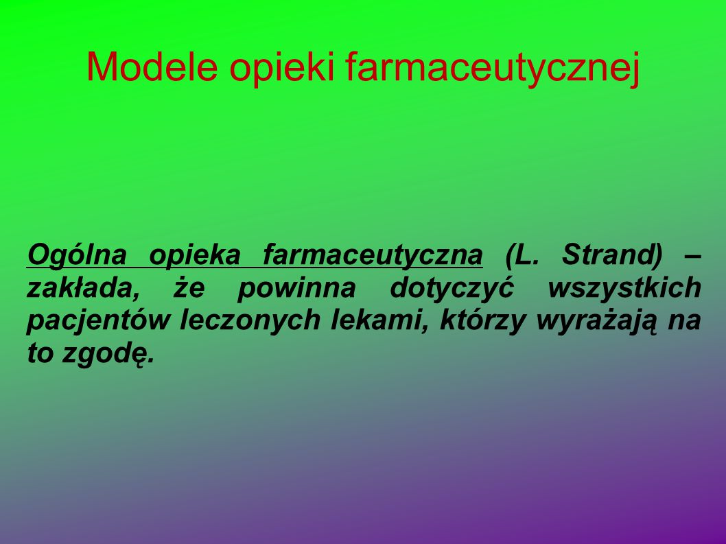 Modele opieki farmaceutycznej