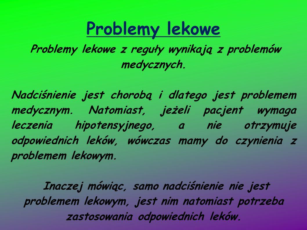 Problemy lekowe z reguły wynikają z problemów medycznych.