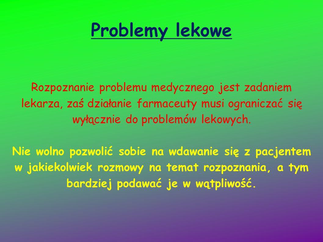 Problemy lekowe Rozpoznanie problemu medycznego jest zadaniem lekarza, zaś działanie farmaceuty musi ograniczać się wyłącznie do problemów lekowych.