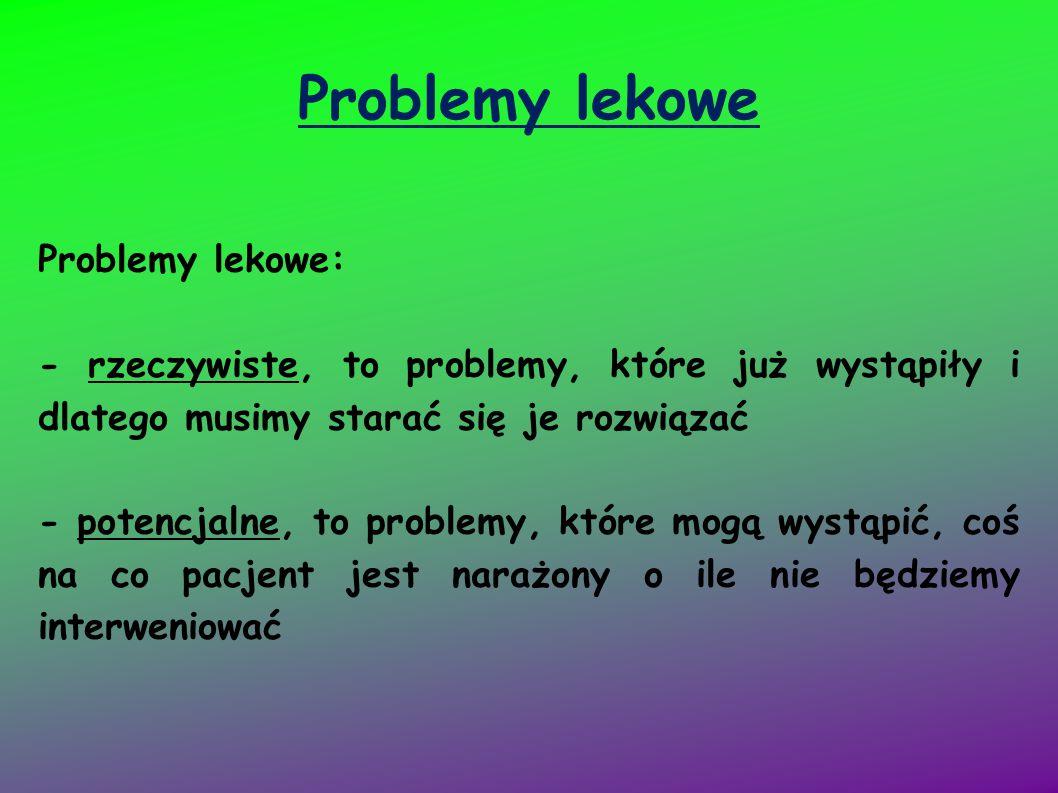 Problemy lekowe Problemy lekowe: