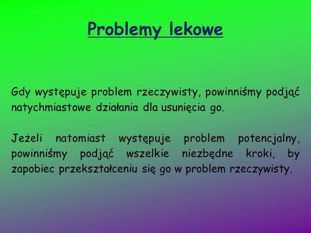 Problemy lekowe Gdy występuje problem rzeczywisty, powinniśmy podjąć natychmiastowe działania dla usunięcia go.
