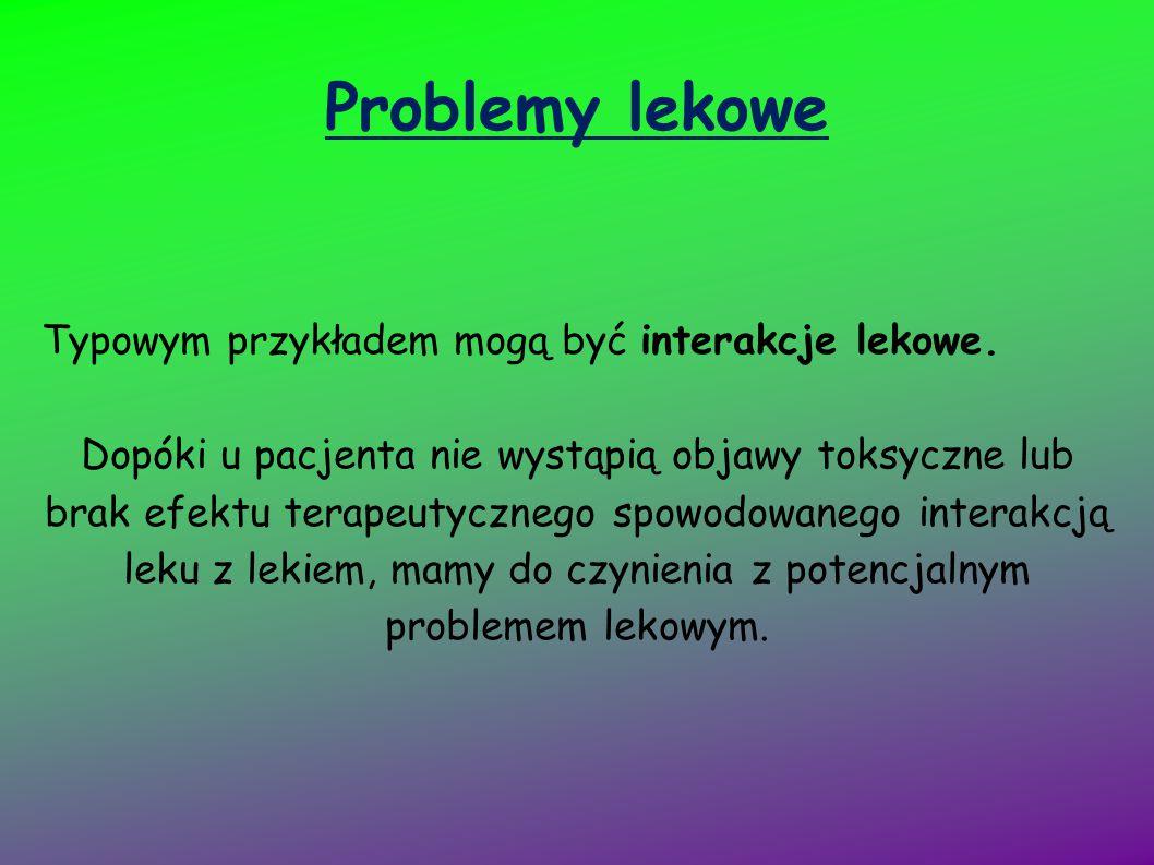 Problemy lekowe Typowym przykładem mogą być interakcje lekowe.