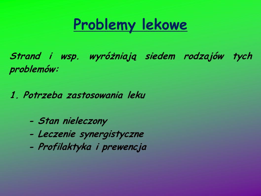 Problemy lekowe Strand i wsp. wyróżniają siedem rodzajów tych problemów: 1. Potrzeba zastosowania leku.