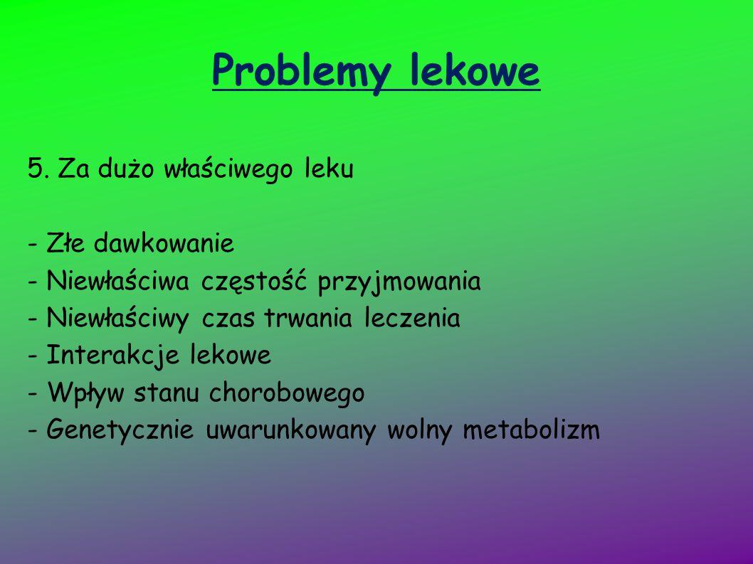 Problemy lekowe 5. Za dużo właściwego leku - Złe dawkowanie
