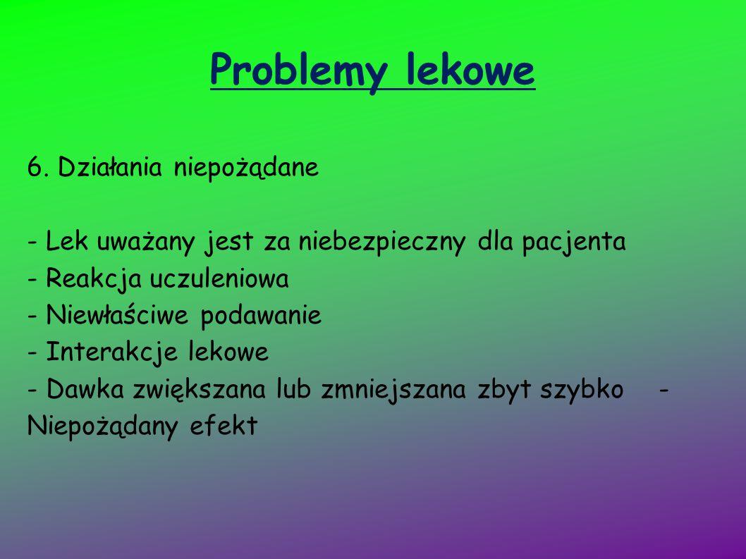 Problemy lekowe 6. Działania niepożądane