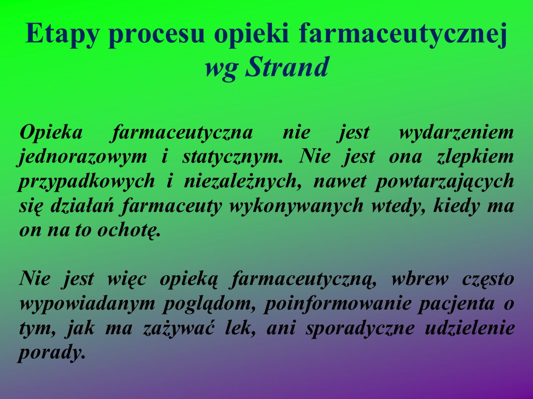 Etapy procesu opieki farmaceutycznej wg Strand