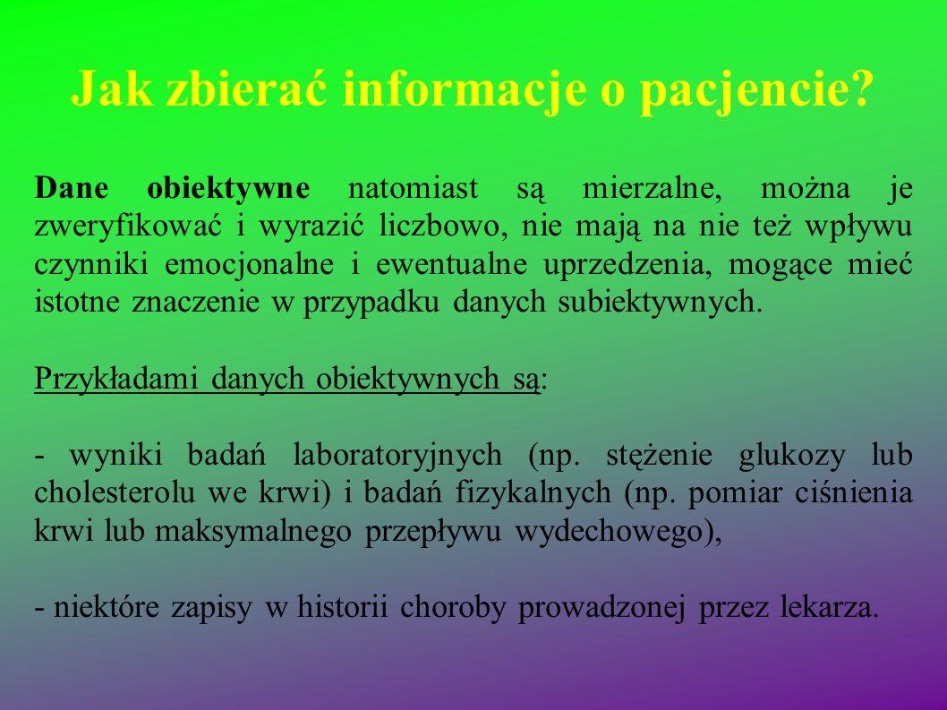 Jak zbierać informacje o pacjencie