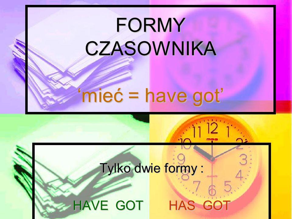 FORMY CZASOWNIKA 'mieć = have got'