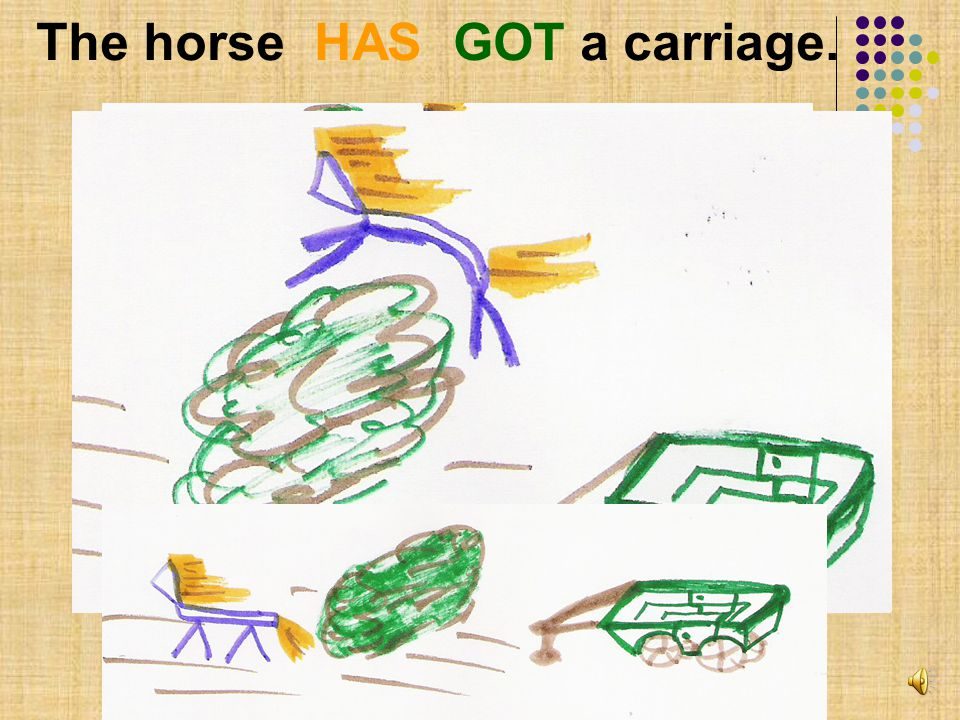 The horse HAS GOT a carriage.