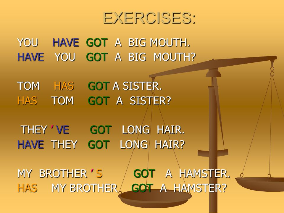 EXERCISES: YOU HAVE GOT A BIG MOUTH. HAVE YOU GOT A BIG MOUTH
