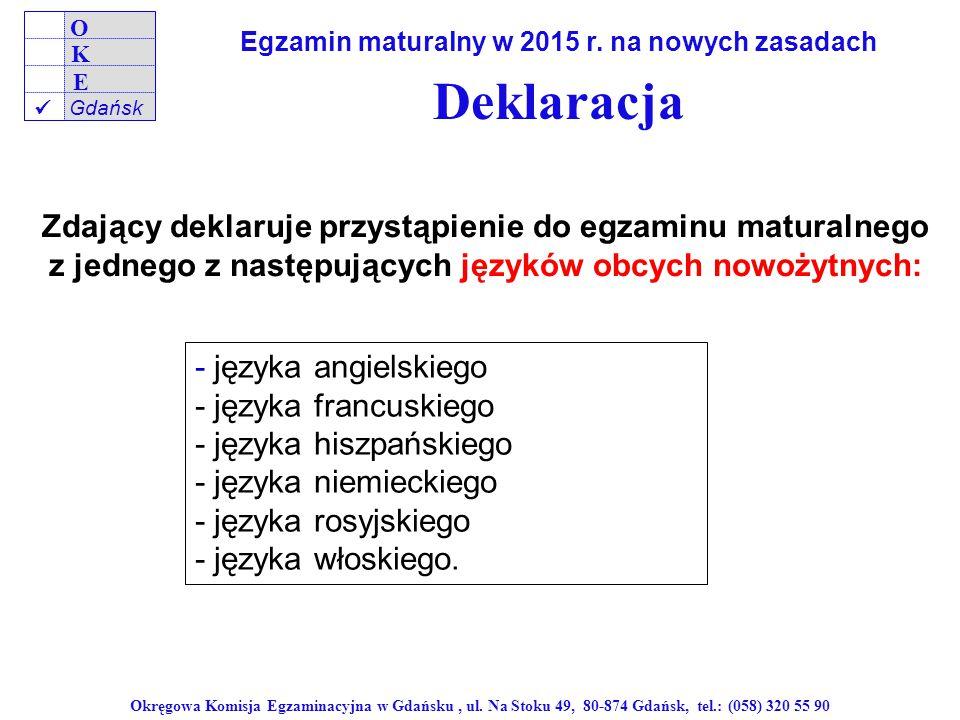 Deklaracja Zdający deklaruje przystąpienie do egzaminu maturalnego