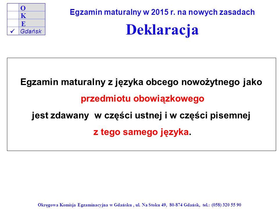 Deklaracja Egzamin maturalny z języka obcego nowożytnego jako