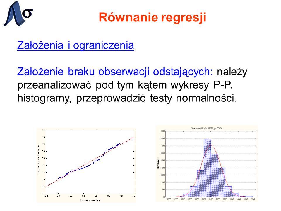 Równanie regresji Założenia i ograniczenia