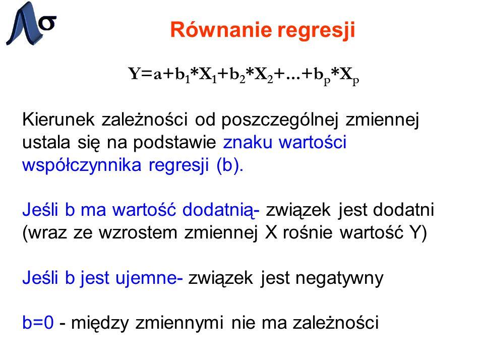 Równanie regresji Y=a+b1*X1+b2*X2+...+bp*Xp