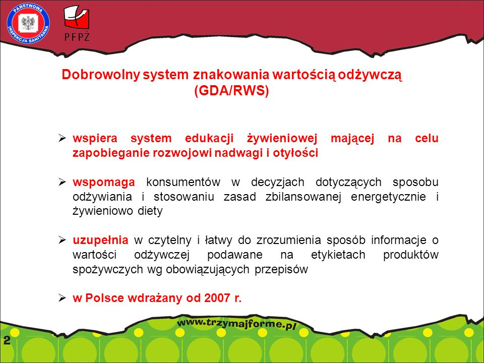 Dobrowolny system znakowania wartością odżywczą (GDA/RWS)