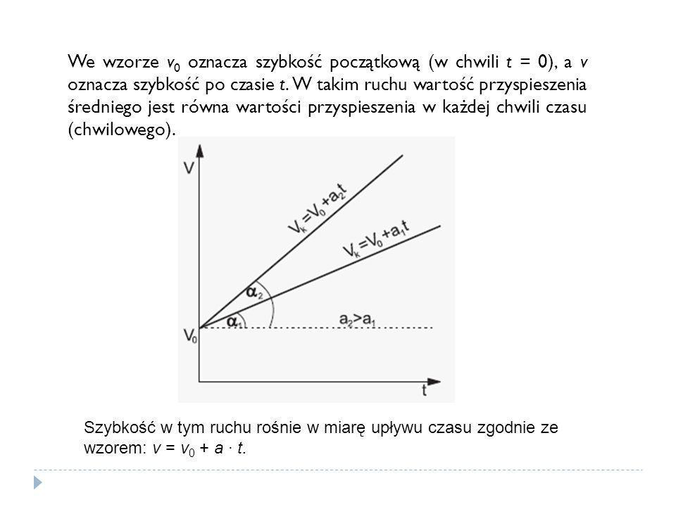 We wzorze v0 oznacza szybkość początkową (w chwili t = 0), a v oznacza szybkość po czasie t. W takim ruchu wartość przyspieszenia średniego jest równa wartości przyspieszenia w każdej chwili czasu (chwilowego).