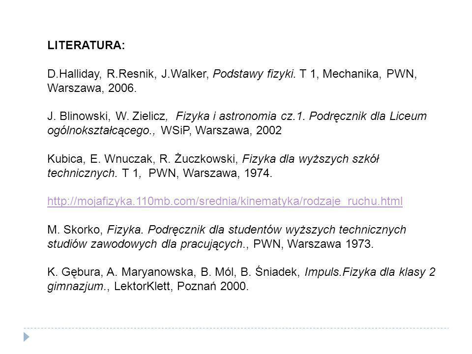 LITERATURA: D.Halliday, R.Resnik, J.Walker, Podstawy fizyki. T 1, Mechanika, PWN, Warszawa, 2006.