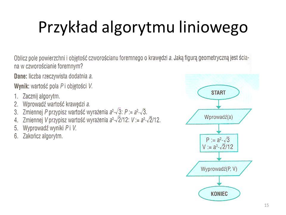 Przykład algorytmu liniowego