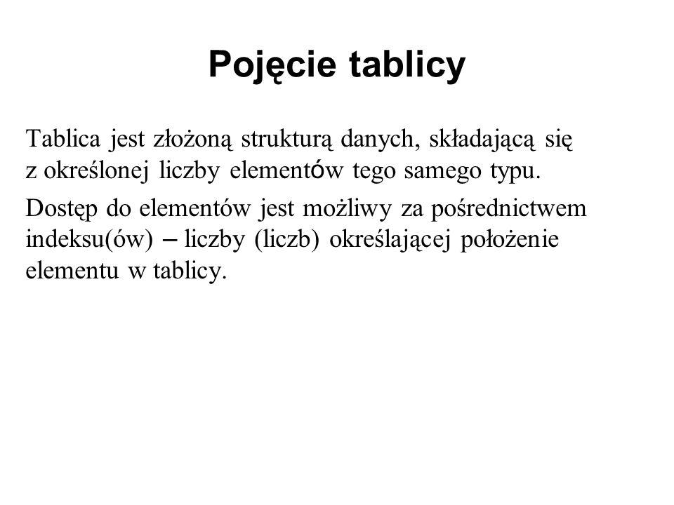 Pojęcie tablicy Tablica jest złożoną strukturą danych, składającą się z określonej liczby elementów tego samego typu.