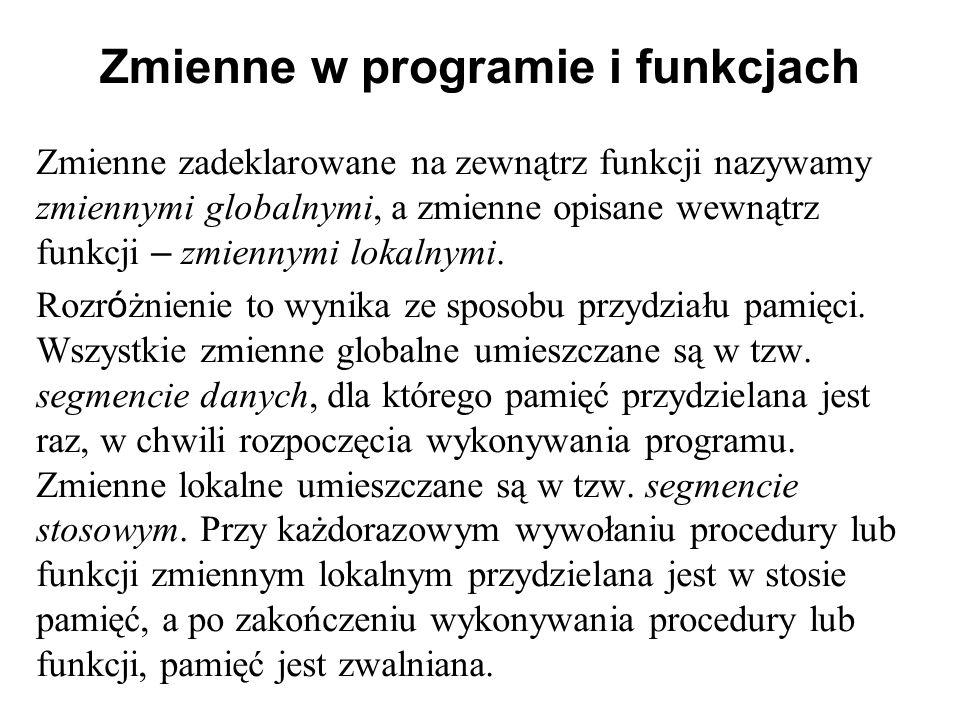 Zmienne w programie i funkcjach