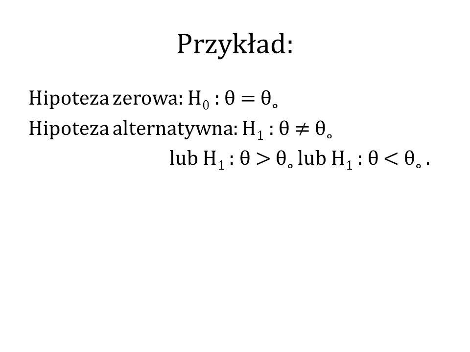Przykład: Hipoteza zerowa: H0 : θ = θ˳ Hipoteza alternatywna: H1 : θ ≠ θ˳ lub H1 : θ > θ˳ lub H1 : θ < θ˳ .