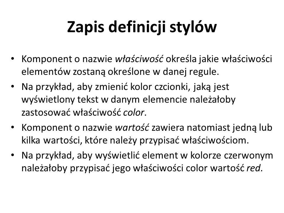 Zapis definicji stylów