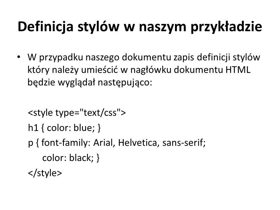Definicja stylów w naszym przykładzie