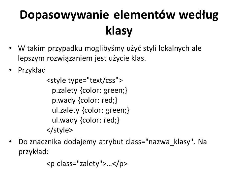 Dopasowywanie elementów według klasy