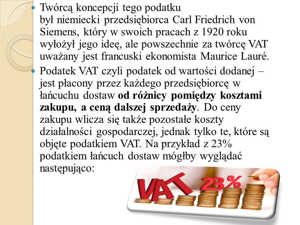 Twórcą koncepcji tego podatku był niemiecki przedsiębiorca Carl Friedrich von Siemens, który w swoich pracach z 1920 roku wyłożył jego ideę, ale powszechnie za twórcę VAT uważany jest francuski ekonomista Maurice Lauré.