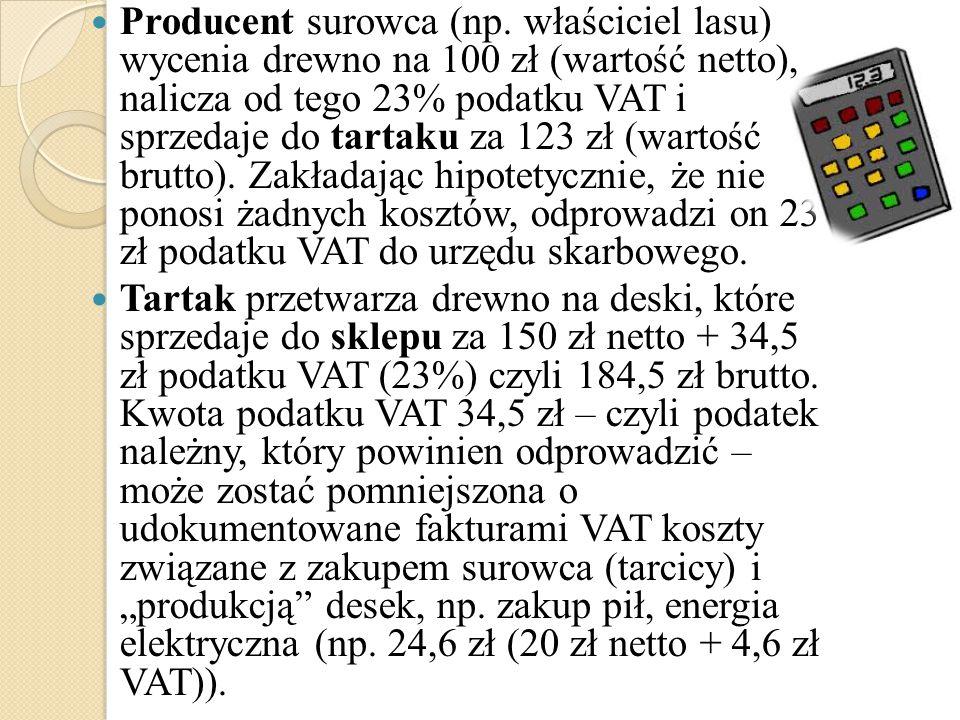 Producent surowca (np. właściciel lasu) wycenia drewno na 100 zł (wartość netto), nalicza od tego 23% podatku VAT i sprzedaje do tartaku za 123 zł (wartość brutto). Zakładając hipotetycznie, że nie ponosi żadnych kosztów, odprowadzi on 23 zł podatku VAT do urzędu skarbowego.