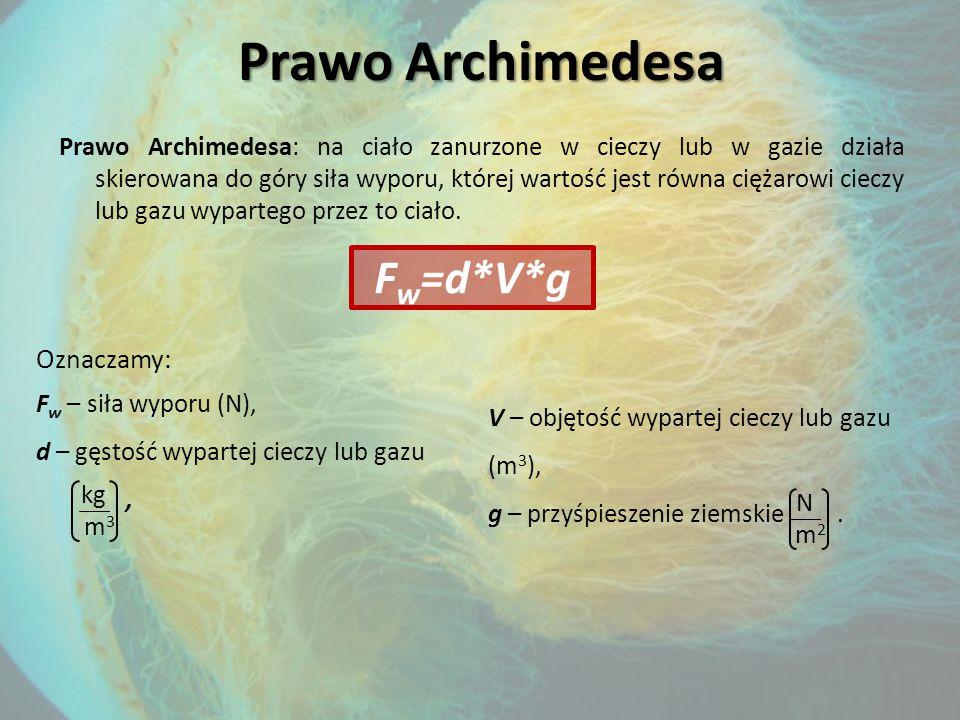 Prawo Archimedesa Fw=d*V*g Oznaczamy: