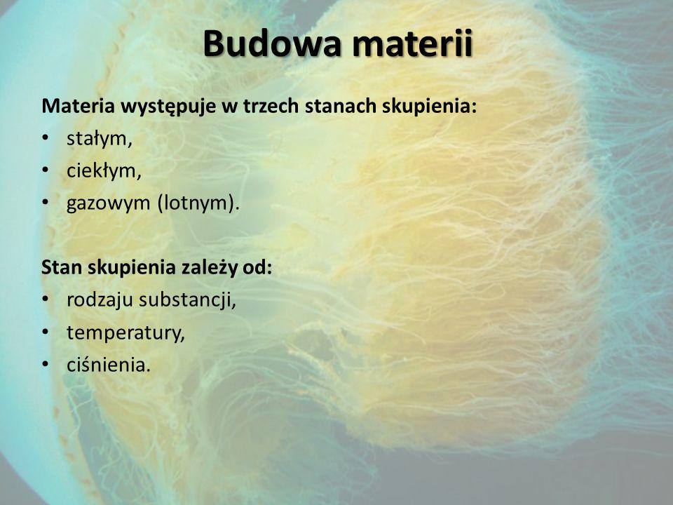Budowa materii Materia występuje w trzech stanach skupienia: stałym,