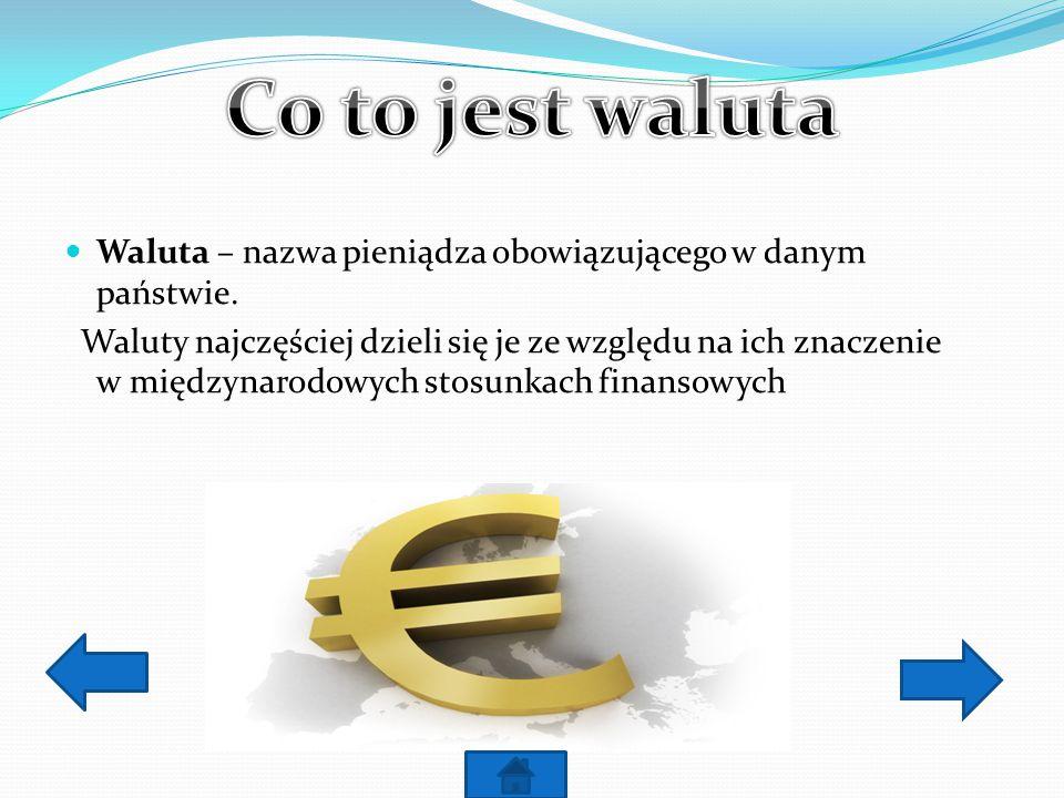 Co to jest waluta Waluta – nazwa pieniądza obowiązującego w danym państwie.