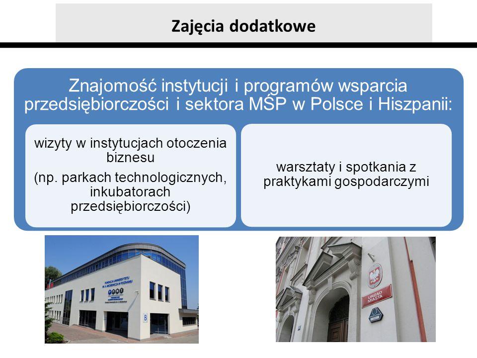 Zajęcia dodatkowe Znajomość instytucji i programów wsparcia przedsiębiorczości i sektora MŚP w Polsce i Hiszpanii: