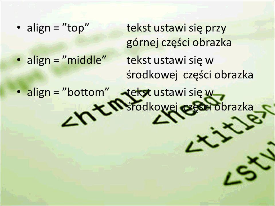 align = top tekst ustawi się przy górnej części obrazka