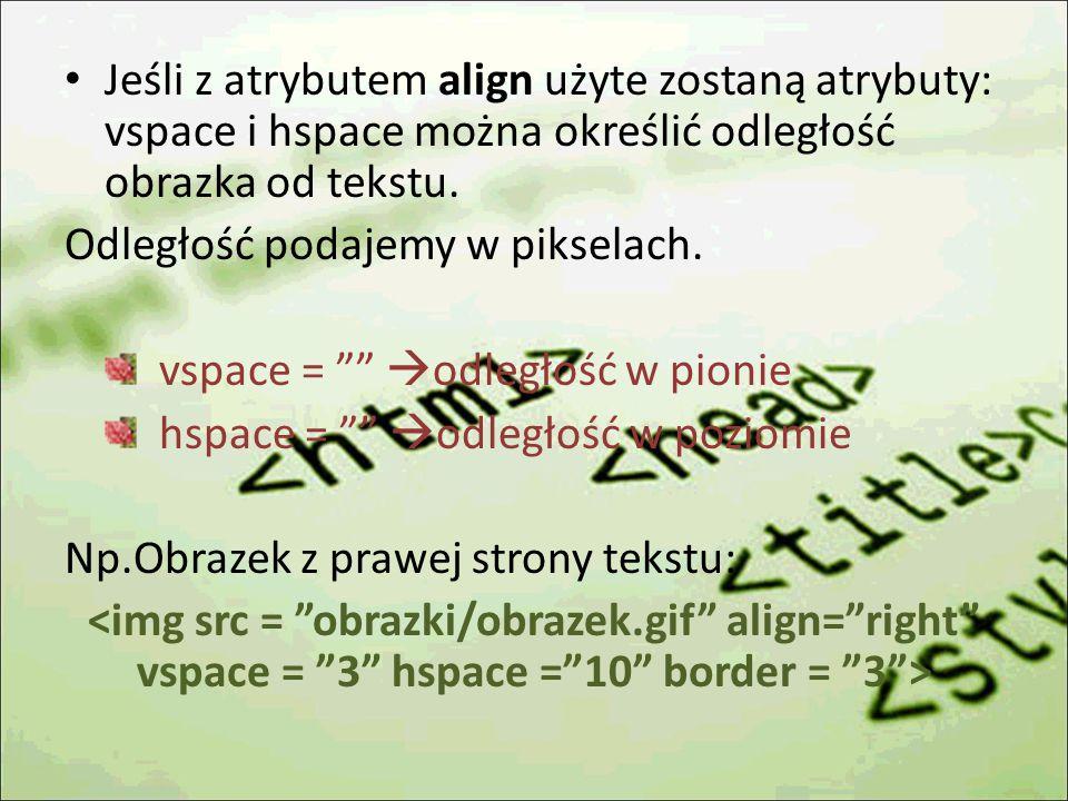 Jeśli z atrybutem align użyte zostaną atrybuty: vspace i hspace można określić odległość obrazka od tekstu.