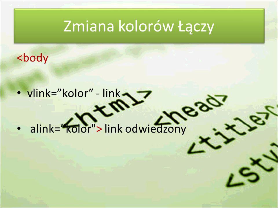 Zmiana kolorów Łączy <body vlink= kolor - link